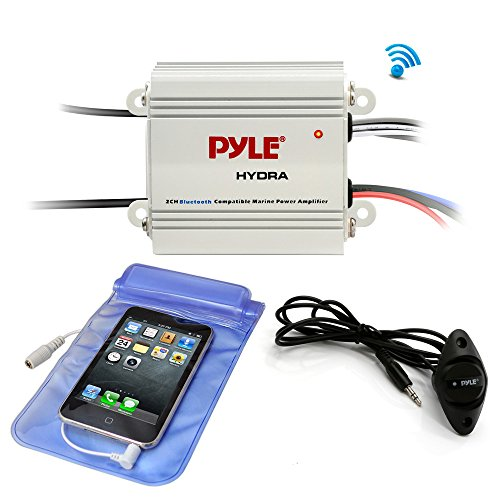 Pyle Auto 2-Channel Bridgeable Marine Amplifier – 200 Watt RMS 4 OHM Full Range Stereo with Wireless Bluetooth & Powerful Prime Speaker – High Crossover HD Music Audio Multi Channel System PLMRMB2CW