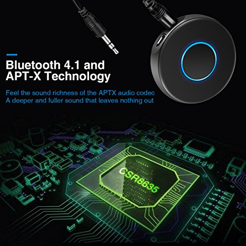 Bluetooth Adapter,Bluetooth Receiver, TVIRD Wireless Audio Adapter 3.5mm Aux output suitable for Home/Vehicle Music Streaming Sound System (Bluetooth 4.1,aptX,A2DP)