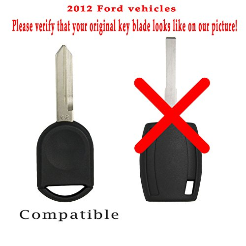 Keyless2Go New Uncut Replacement 80 Bit Transponder Ignition Car Key H92 H84 H85 (2 Pack)