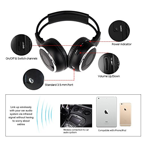 Crusar 2-pack IR Wireless Two-Channel Foldable Headphones for Car