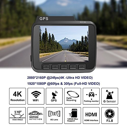 4K Ultra HD Car Dash Cam, 2.4″ Dash Camera, Built In WiFi and GPS- AZDOME 170 Degree Wide Angle View Car Video Recorder Camera with GPS, Wifi, G-Sensor, Loop Recording, Parking Monitor, Night Vision