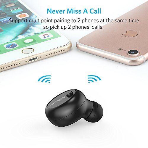 Mini Bluetooth Earbud, ARCHEER V4.1 Smallest Wireless Earbud with 7 Hour Talk Time Invisible In Ear Earphone Car Headset with Mic/Magnetic USB Chargers, Handsfree Call for iPhone Android(1 Pcs)