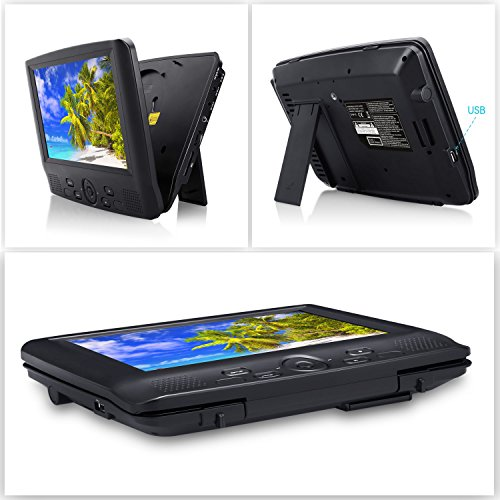 CUTRIP 9 Inch Dual Screen Portable DVD Player with Car Headrest Mount Brackets, 5 Hours Built-in Rechargeable Battery -Black