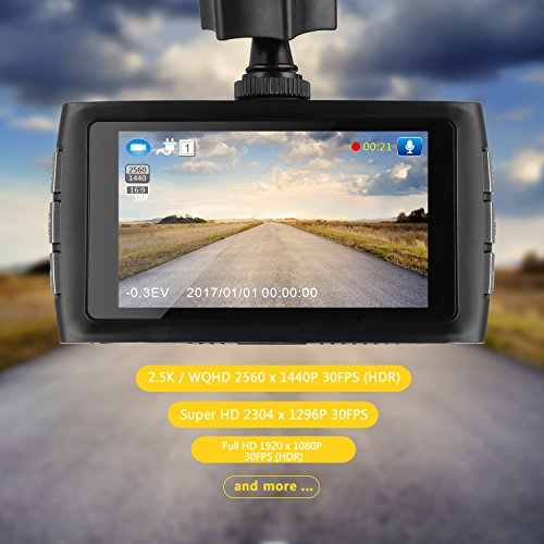 Z-EDGE Z3 Upgraded Version Dash Cam, 1440P Quad HD Car Dashboard Camera with Ambarella A12 Chipset, 3-Inch Screen, Super HDR Night Vision, 155-Degree Wide Angle and 32GB Memory Card Included