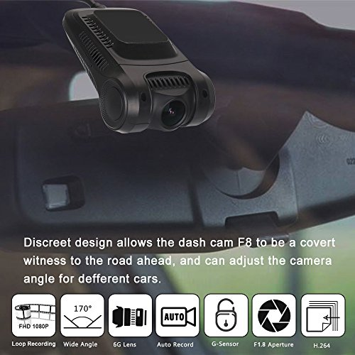 "Dash Cam, 2.0"" LCD FHD 1080P Car Dashboard Camera Recorder F8 with Sony Exmor Video Sensor, 6-Lane 170 Degree Wide-Angle View A+ Lens, G-Sensor, WDR, Loop Recording, Night Vision"