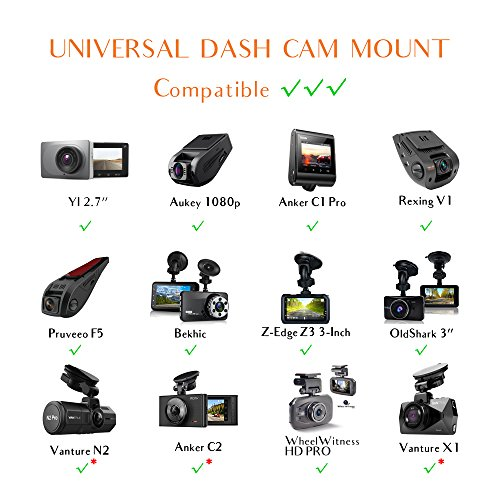 Dash Cam Mirror Mount – Fits Falcon F170HD,Rexing V1, Z-Edge, Old Shark, YI, Amebay,KDLINKS X1,VANTRUE and Most Other Dash Cameras