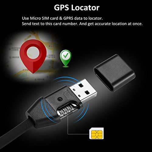 2-in-1 Mini Spy GPS Tracker for Vehicles and USB Charger Cable, Real Time GSM GPRS Tracking Device – Support SIM Card, Alarm Function, Fits for iPhone and Android
