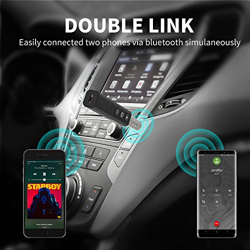 Bluetooth Receiver, SZMDLX Portable Wireless Audio Adapter Bluetooth 4.2 Car Kits with Clip Design (A2DP, Built-in Microphone for Home and Car Audio with 3.5mm Aux Stereo Output)