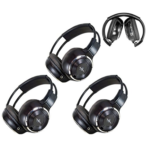 3 Pack of Two Channel Folding Adjustable Universal Rear Entertainment System Infrared Headphones With 3 48″ 3.5mm Auxiliary Cords Wireless IR DVD Player Head Phones Car TV Video Audio Listening