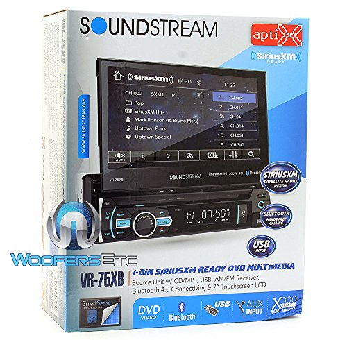Soundstream VR-75XB In-Dash 1-DIN 7″ LCD Screen DVD, CD/MP3, AM/FM Receiver with Bluetooth 4.0 & SiriusXM Ready