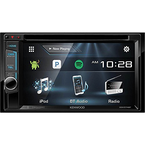 Kenwood DDX374BT 2-DIN Bluetooth In-Dash CD/DVD/DM Receiver with 6.2″ Touchscreen