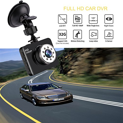 Dash Cam Bnoia 1080P Mini Car Camera HD 2.7″ LCD Dashboard Camera Driving Recorder Night Vision 140° Wide Angle G-sensor Loop Recording Parking Monitor