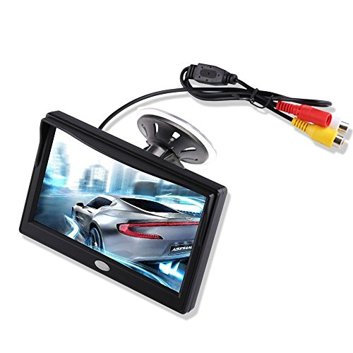 5'' Inch TFT LCD Car Color Rear View Monitor Screen for Parking Rear View Backup Camera With 2 Optional Bracket(Suckers Mount and Normal Adhesive Stand)