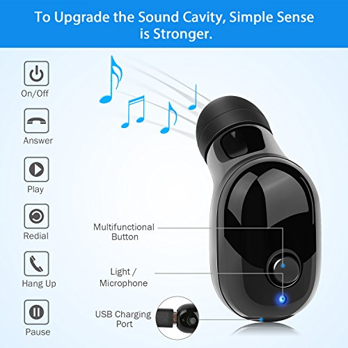 Wireless Bluetooth Earbud Single Headphone Waterproof Comfortable Stereo Earphone(6 hours 100ft)Built-in Mic Water-Resistant for iPhone 8 X Samsung Note 8 Mate 10 and Most Phones PC(Black, 1 Piece)
