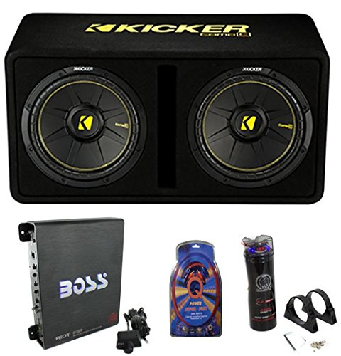 Kicker 44DCWC122 12″ 1200W Car Subwoofers Sub Enclosure + Amp + Capacitor + Wire