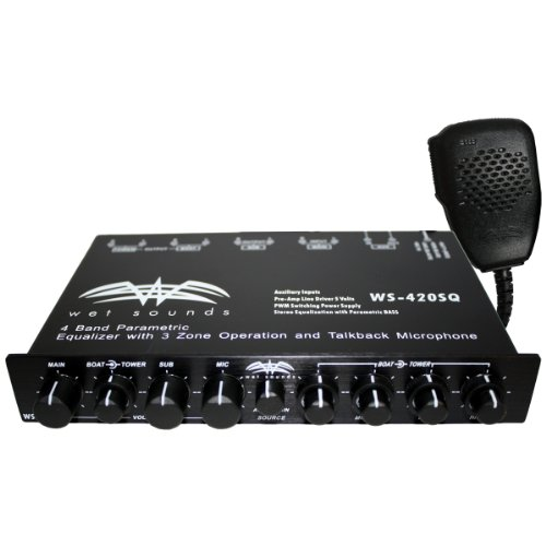 Wet Sounds WS-420 SQ – 4 Band Parametric Equalizer with 3 Zone Operation with Microphone