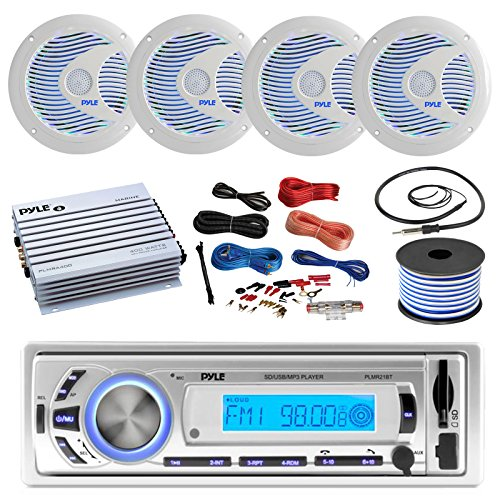 "16-25′ Bay Boat: Pyle Bluetooth Marine USB MP3 Stereo Receiver, 4 X Pyle 6.5"" Waterproof White Speakers w/ LED, Pyle 4 Channel Boat Amplifier, Amp Install Kit, 18 Gauge 50 FT Speaker Wire, Antenna"
