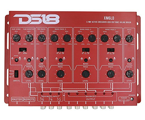 DS18 XM6LD High/Low Pass 6-Way Active Crossover with Remote Subwoofer Control