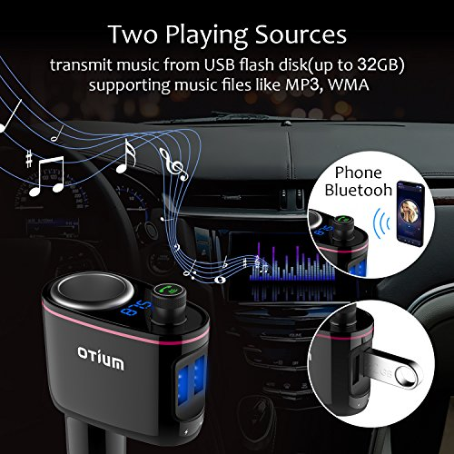 FM Transmitter/Cigarette Lighter Socket/ USB Car Charger Three-in-One, Otium S06 Bluetooth Car Adapter Wireless Audio Radio Receiver Music Tuner Modulator Car Kit with Mic, Hands Free Talking