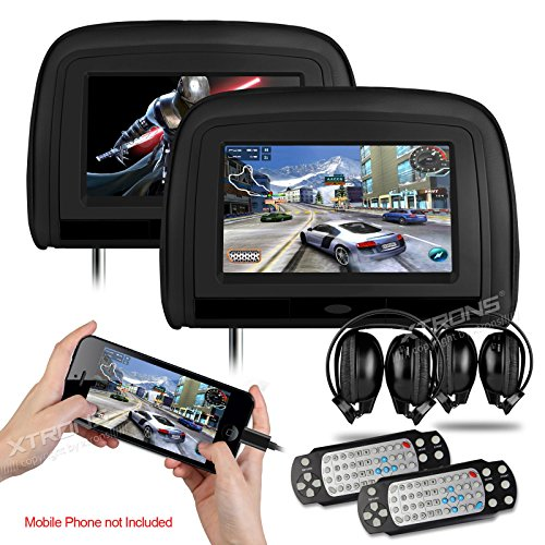 XTRONS Black 29″ HD Digital Widescreen Twin Car Headrest DVD Player 1080P Video with HDMI Input IR transmitter and FM Transmitter&IR Headphones Included
