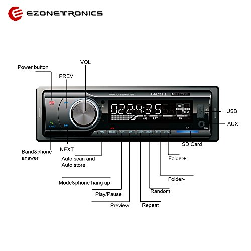 Ezonetronics Car AM/FM and MP3 Stereo Radio Receiver Aux with Bluetooth USB Port and SD Card Slot LC6219