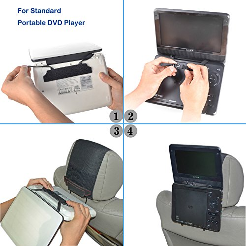 TFY Universal Car Headrest Mount Holder for Portable DVD Player