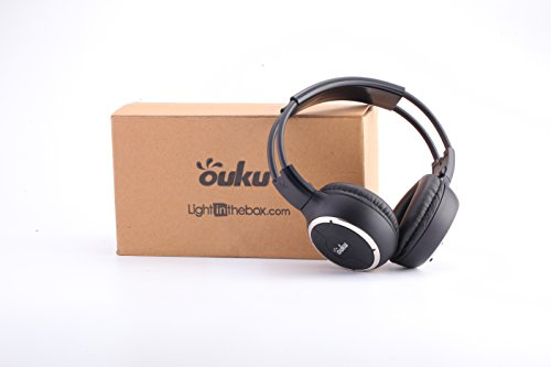 OUKU Two Channel Folding Wireless Rear Entertainment System Infrared IR DVD Player Head Phones, Pack of 2