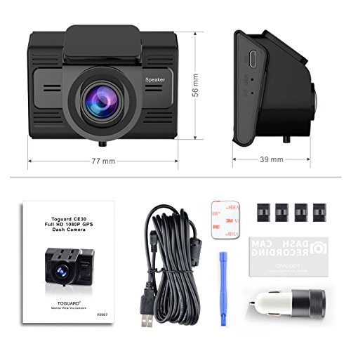 Dash Cam with GPS and WiFi-TOGUARD Full HD 1080P Car Driving Camera Video Recorder with 170 Degrees Wide Angle Sony Sensor 2.45 inch LCD G Sensor Loop Record and Parking Monitor
