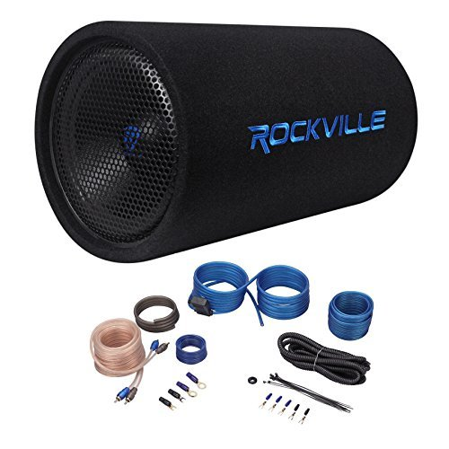 Rockville RTB12A 12″ 600w Powered Subwoofer Bass Tube + Bass Remote+Amp Kit