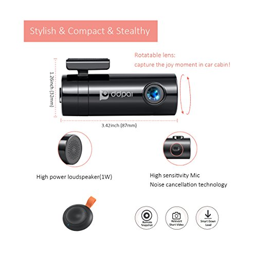 DDPai mini2 Wi-Fi Dash Cam 1440P 2K Car Camera, Built-in Supercapacitor, 3-Axis G-Sensor, Snapshot Button, Night Vision, WDR, 140° Wide Angle Lens, Loop Recording, Parking Monitor, Storage Up To 128GB