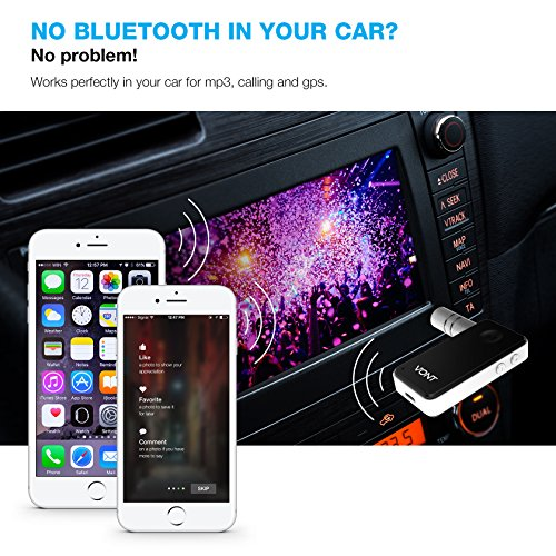 Bluetooth Receiver, Portable Bluetooth Adapter / Car Kit, Portable Wireless Music Audio, Wireless Sound System, With Hands-Free Calling & Noise Cancellation, Bluetooth AUX Adapter – Vont