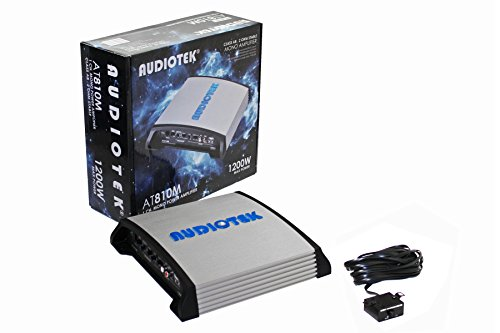 Audiotek At810M Class Ab 1 Channel Mono 2 Ohm Stable 1200W Stereo Power Car Amplifier W/ Bass Control