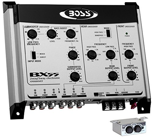 BOSS BX55 2/3 Way Car Audio Electronic Crossover Bass w/Remote Control+Amp Kit