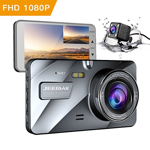 JEEMAK 4″ IPS Dual Lens Car Dash Cam FHD 1080P Dashboard Camera 170 degree Wide Angle In Car Vehicle Driving DVR Recorder with G-Sensor Parking Monitor WDR Loop Recording Night Vision