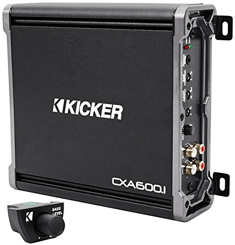 Package: Kicker 43CXA6001 600 Watt Mono Amplifier + Kicker 43CXARC Remote Control For CX or PX SERIES Car Amplifiers + Rockville RWK41 4 Gauge 2 Channel Complete Wire Kit With RCA Cables