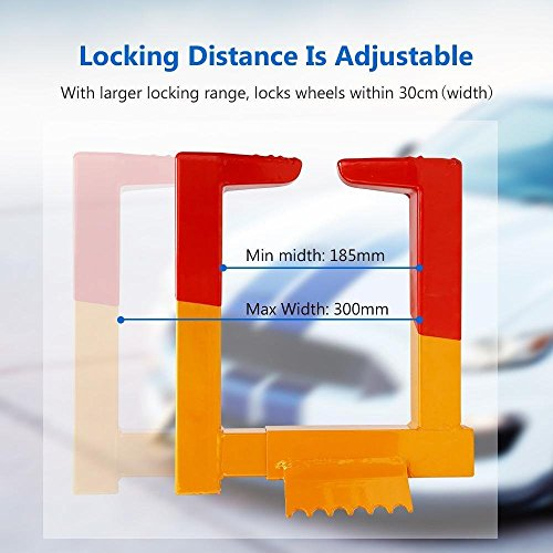 Dtemple Auto Car Wheel Chock Lock Heavy Duty Anti-Theft Steel Towing Security Lock 13.3 x 10.1 Inch, US Stock, Yellow Red