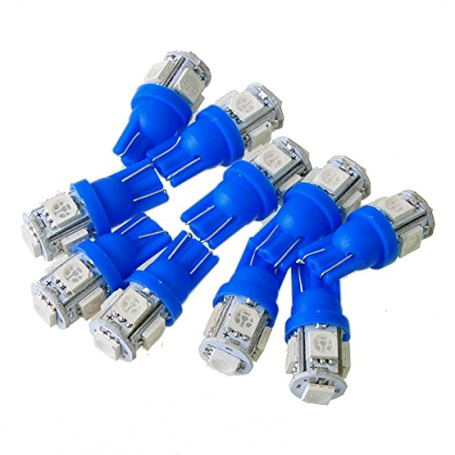 Suppion 10pcs T10 Wedge 5-SMD 5050 Xenon LED Light bulbs 192 168 194 W5W 2825 158 Blue
