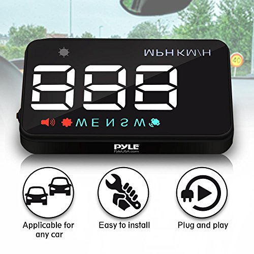 Pyle Universal 3.5'' Car HUD Head-Up Display Multi-Color Windshield Screen Projector Vehicle Speed & GPS Navigation Compass, Plug & Play (PHUD12)