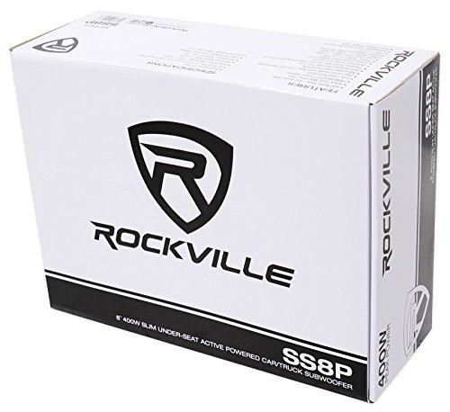 Rockville SS8P 400 Watt Cast Aluminum Slim Under-Seat Powered Car/Truck Subwoofer Sub+Amp Kit