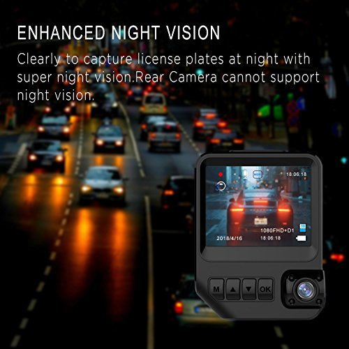 Dash Cam Dual Cameras for Cars, 2.3″ LCD HD 1080P Car Camera with Night Vision Dashboard Camera Recorder Front and Rear with 170° Wide Angle, G-Sensor, Loop Recording, WDR, Parking Mode
