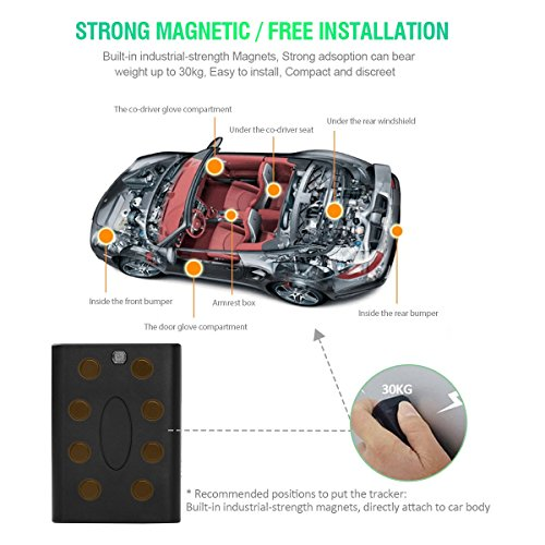 GPS Tracker, VIFLYKOO BSJ-A5E-3 Vehicle GPS Tracking System with No Monthly Fee, Waterproof Magnetic GPS Tracker Real Time Personal for Vehicle Anti-Theft / Teen Driving