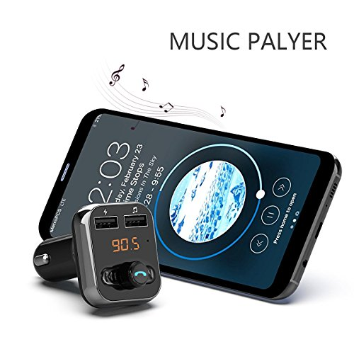 SAPE Bluetooth FM Transmitter Wireless Digital Radio In-car Transmitter Receiver Car Adapter MP3 Player Supports TF/SD Card and Dual USB Car Charge Hands-free Calling for iPhone Samsung etc