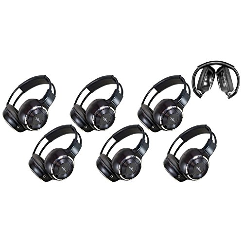 6 Pack of Two Channel Folding Adjustable Universal Rear Entertainment System Infrared Headphones 6 Additional 48″ 3.5mm Auxiliary Cords Wireless IR DVD Player Head Phones Car TV Video Audio Listening
